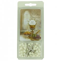 White Rosary And Token Card First Holy Communion Gift