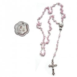 Pink Rosary First Holy Communion Gift In A Clear Case