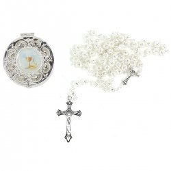 First Communion Gift Silver Rosary In A Round Filigree Box