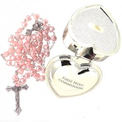 First Holy Communion Pink Rosary In Heart Shape Silver Plated Box