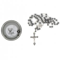 Black Rosary With Round Silver Box First Holy Communion Gift