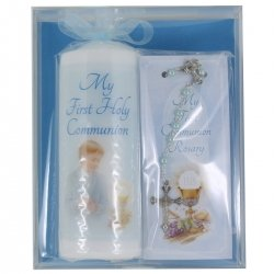 Boys First Holy Communion Blue Candle Blue Rosary Gift Packed