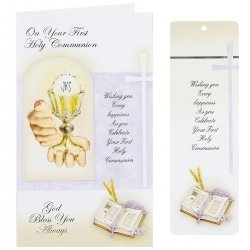 On Your First Holy Communion Greeting Card With A Bookmarker