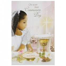 Girls Communion Card On Your First Communion Day