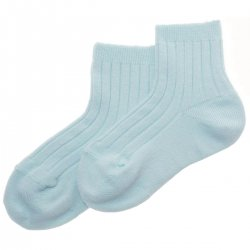 Boys Baby Blue Ribbed Socks From Spanish Condor