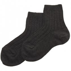 Baby Boys Fine Dress Socks Dark Grey High Cotton Content