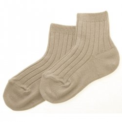 Baby Boys Light Brown Or Sand Colour Ribbed Dress Socks