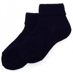 Cotton Rich Scallop Pattern Childrens Navy Socks