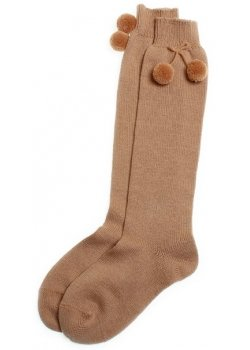 Knee high pom pom socks in light brown