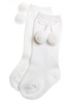 Knee high white pom pom socks