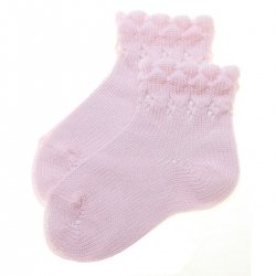 High Quality Baby Pink Scallop Edge Socks