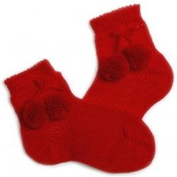 Red pom pom socks