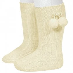 Condor Pom Pom Knee High Ivory Ribbed Socks For Boys And Girls