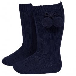 Condor Navy Knee High Pom Pom Ribbed Socks