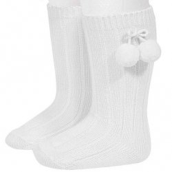 Condor Knee High Ribbed Socks In White