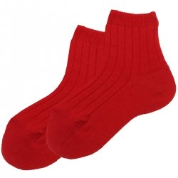 Boys Baby Red Ribbed Socks By Condor Socks