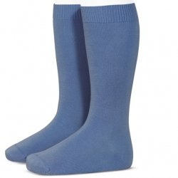 Soft Condor Knee High French Blue Plain Socks Made in Spain