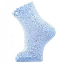 Baby Blue Boys Summer Ankle Socks Scallop Edge Openwork Pattern