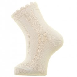 Scallop Edge Openwork Pattern Baby Boys Ivory Summer Socks