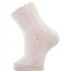 Newborn To Toddlers White Socks With Scallop Edge Openwork Pattern For Summer