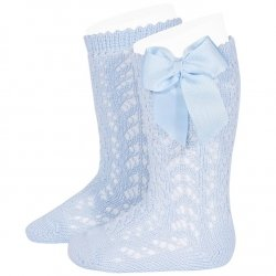 Baby Blue Openwork Knee High Bow Socks