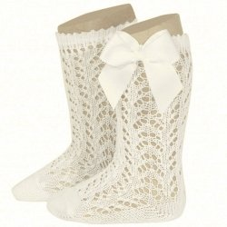 Openwork Knee High Ivory Bow Socks