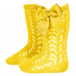 Lemon Yellow Condor Openwork Knee High Girls Bow Socks