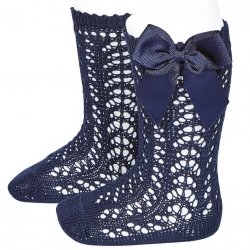 Navy Openwork Knee High Bow Socks