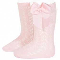 Openwork Knee High Pink Bow Socks by Condor