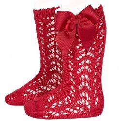 Spanish Openwork Knee High Red Bow Socks
