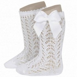 Openwork Knee High White Bow Socks By Spanish Condor