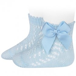 Baby Blue Openwork Short Bow Socks