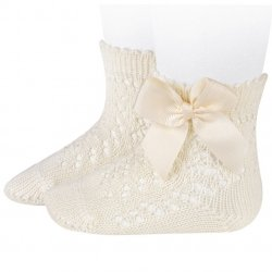 Condor Openwork Ivory Bow Ankle Socks