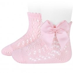 Openwork Ankle High Pink Bow Socks by Condor