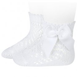 Openwork Short White Bow Socks By Spanish Condor