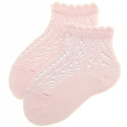 Girls Openwork Pink Short Ankle Socks With Scallop
