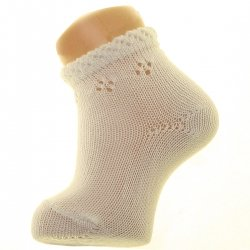 Made in Spain Condor Baby Summer Ivory Socks Diamond Openwork Pattern