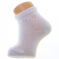 Condor Cotton Rich Baby Summer White Socks Diamond Openwork