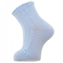 Baby Blue Summer Dress Socks With Cable Pattern
