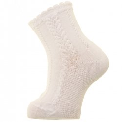 Baby Ivory Dress Socks With Cable Pattern For Spring Summer