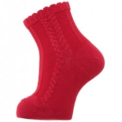 Baby Girls And Boys Red Dress Socks With Cable Pattern
