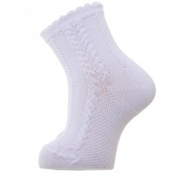 Baby White Dress Socks With Cable Pattern For Spring Summer