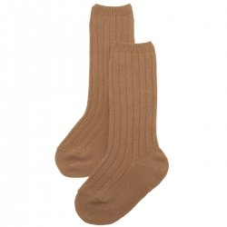 Caramel Brown Knee High Ribbed Socks For Boys And Girls Spanish Socks
