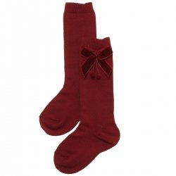 Made in Spain Girls Knee High Velvet Bow Burgundy Socks