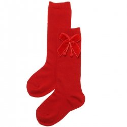 Spanish Made Girls Red Knee High Velvet Bow Socks