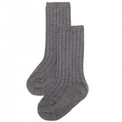 Knee High Ribbed Socks In Grey For Boys And Girls Spanish Socks