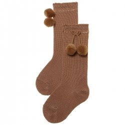 Caramel Brown Cotton Knee High Spring Summer Pom Pom Socks