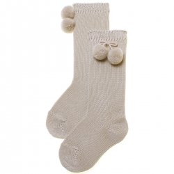 Knee High Pom Pom Socks In Tan Or Sand Or Khaki Colour