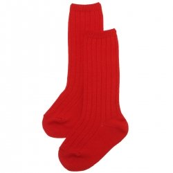 Knee High Red Ribbed Socks For Boys And Girls Spanish Socks