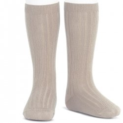 Sand Stone Colour Knee High Ribbed Socks For Boys And Girls Spanish Socks By Condor